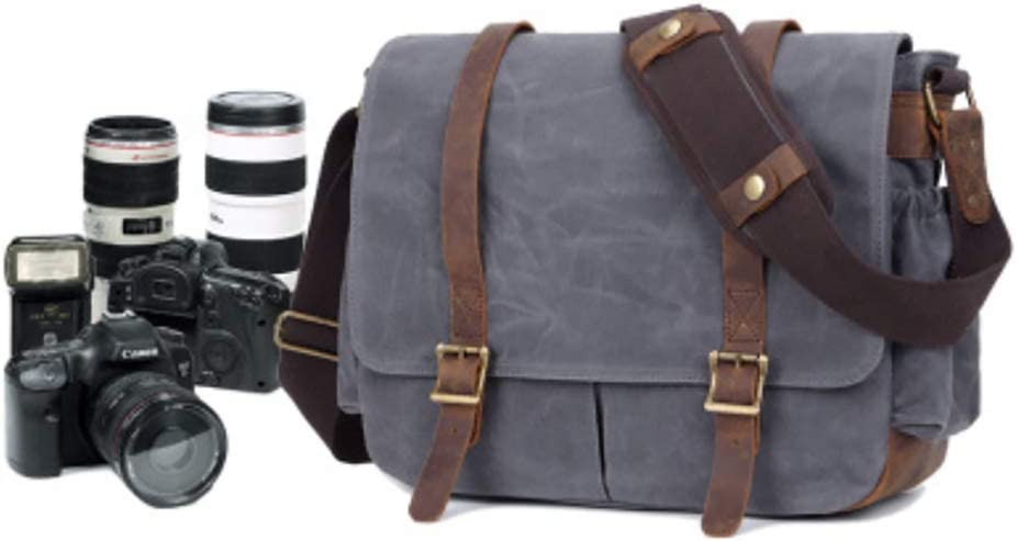 Gray Binglinghua Vintage Leather Camera Bag DSLR Messenger Shoulder Bag Canvas Waterproof Sling Backpack-BLHTYC6980