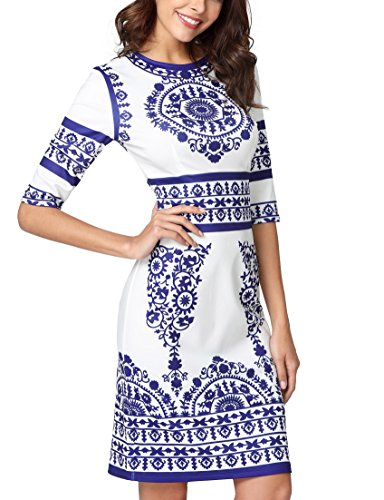 Jollymoda Women's Porcelain Print Work Sheath Business Pencil Dress (Blue, M)