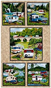 """Elizabeth's Studio """"Vintage Trailers Blocks 24 In. Panel Earth Quilt Fabric"""" Quilt Fabric, Gold/Red/Black"""