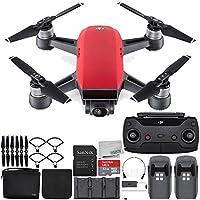 DJI Spark Portable Mini Drone Quadcopter Fly More Combo Bundle (Lava Red)