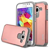 RANZ Dual Layer Bumper Case for Samsung Galaxy Core Prime G360/ Samsung Galaxy Prevail LTE, Rose Gold/Grey