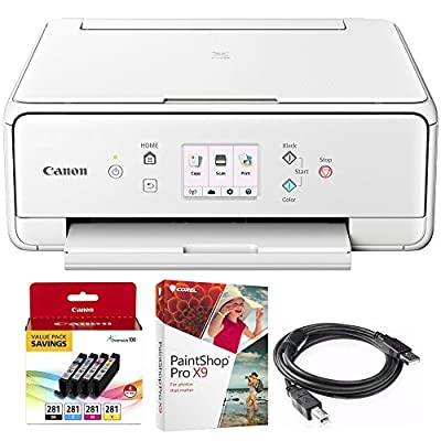 Canon PIXMA TS6120 Wireless All-in-One Compact Printer with Scanner & Copier White (2229C022) 4-Color Ink Tank Value Pack + Black Ink Tank, Corel Paint Shop Pro X9 & 6-foot USB Printer Cable
