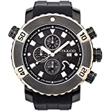 Mulco Buzo EEL Quartz Swiss Chronograph Movement Men's Watch | Premium Analog Display with Accents | Silicone Watch Band | Water Resistant Stainless Steel Watch | Ion-Plated (Black/Rosegold)