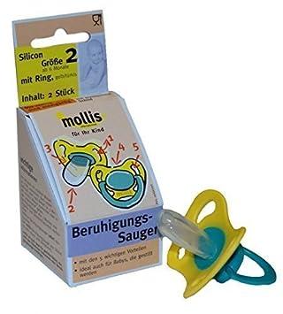 Amazon.com: Mollis chupetes de silicona. Gr. 2 con anillo 2 ...