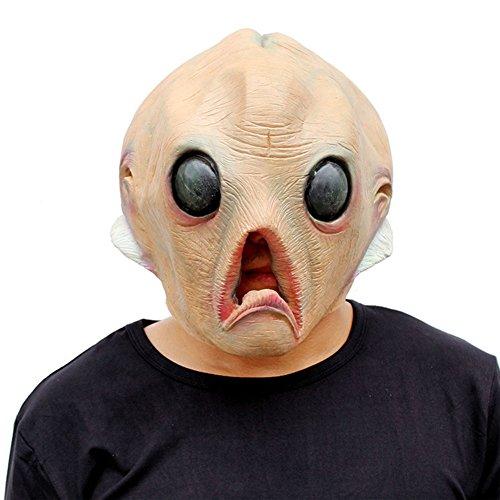 LSERVER Scary Full Face Mask - Novelty Halloween Costume Party Latex Alien Head Mask -