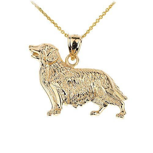 - Polished 10k Yellow Gold Golden Retriever Dog Pendant Necklace, 16
