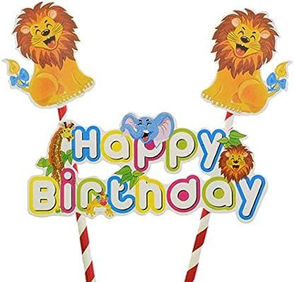 Amazon.com: León Safari Feliz Cumpleaños Cake Topper Banner ...