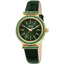 Burgi BUR243GN Designer Women's Watch - Genuine Patent Leather Strap, Swarovski Colored Crystal Studded Bezel, Fine Guilloche Pattern Dial
