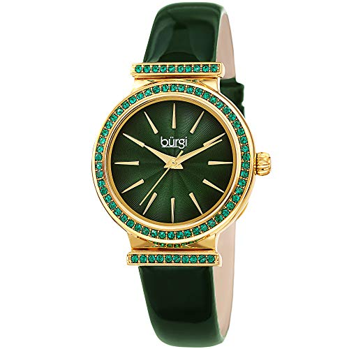 - Burgi BUR243 Designer Women's Watch - Genuine Patent Leather Strap, Swarovski Colored Crystal Studded Bezel, Fine Guilloche Pattern Dial (Sparkle Green)