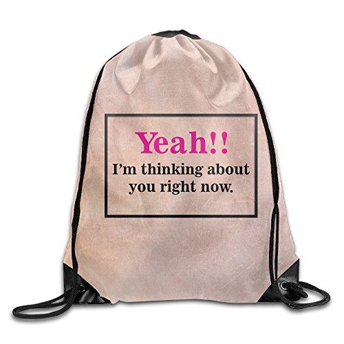 ZARRHOUSE Sack Bag Yeah I'm Thinking Summer Beam Mouth Backpack Men's Women's Print Shoulder Drawstring Bag Backpack String Bags School Rucksack Gym Handbag 16.9
