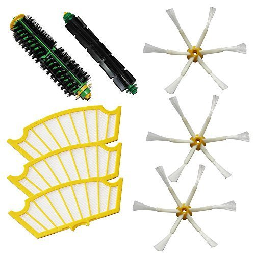 MZY LLC Bristle Brush & Flexible Beater Brush & Side Brush 6-Armed & Filters Pack Kit for iRobot Roomba 500 Series Roomba 510, 530, 535, 536, 540, 550, 551, 552, 560, 564, 570, 580, 610 Vacuum Cleaning Robots all Green, Red, Black cleaning head