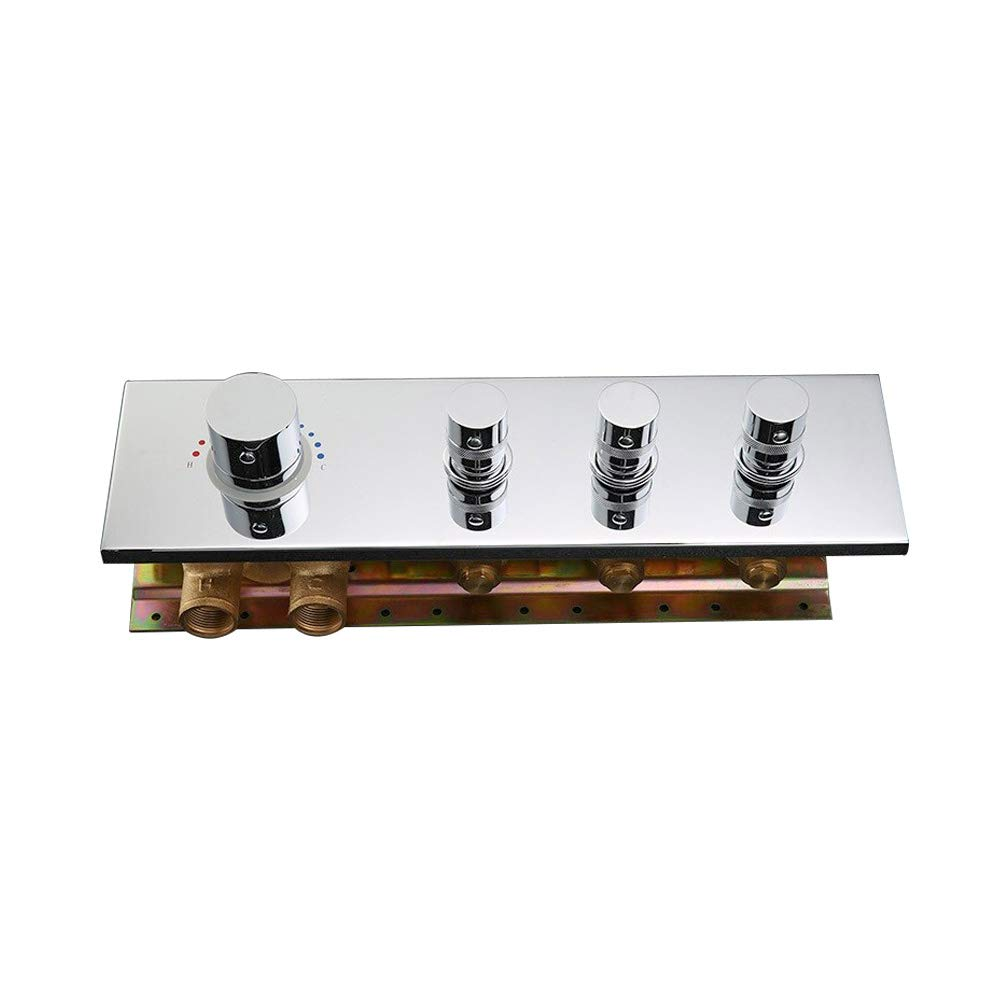 JiaYouJia Modern Thermostatic 3-Function 3-Outlet Solid Brass Mixer Shower Valve & Trims in Polished Chrome by JiaYouJia
