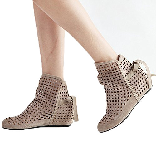 Boots Flock Summer Beige Out Casual Low Slip Autumn Ankle Hidden Fashion Flat Hollow Women Wedge Roma on qIFZwT1