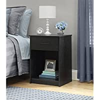 Mainstays Nightstand MDF End Tables Pair Bedroom Table Furniture Multiple Colors (1-piece, Ebony)
