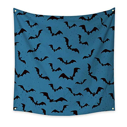 (Anyangeight Horizontal Tapestry Seamless Background with Bats for Halloween 63W x 63L)