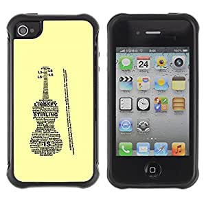 Suave TPU Caso Carcasa de Caucho Funda para Apple Iphone 4 / 4S / Lindsey Sterling Violin Case / STRONG
