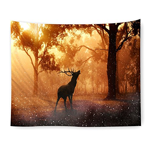 KABAKE Natural Landscape Scene Tapestry Foggy Forest Deer in the Misty Woodland Bedroom Living Room Dorm Decro Wall Hanging Tapestry Wallcloth Bedspread Throw Blanket (Pattern ()