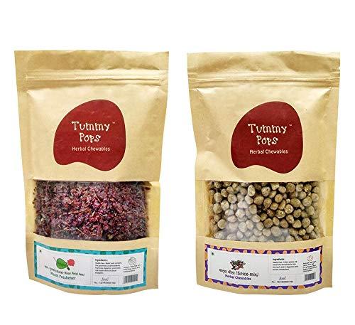 Herbs & Us Tummy Pops Meetha Paan Gulkand & Khatta Meetha Goli/Spice Mix   Digestives/Churan/ Goli   Pack of 2   250 Gm X 2   Original Mukhwas and Mouth freshener   Mukhwas Packets