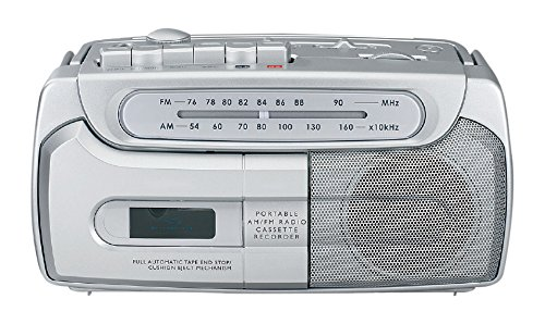 Sylvania SRC120 Portable Cassette Boombox with AM/FM Radio (Silver)