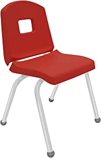 "product image for Creative Colors 1-Pack 16"" Kids Preschool Stackable Split Bucket Chair in Red with Platinum Silver Frame and Ball Glide"
