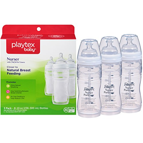 Playtex Baby Nurser Baby Bottle with Drop-Ins Disposable Liners, Closer to Breastfeeding, 8 Ounce - 3 Pack (Pre Disposable Liners Sterilized)