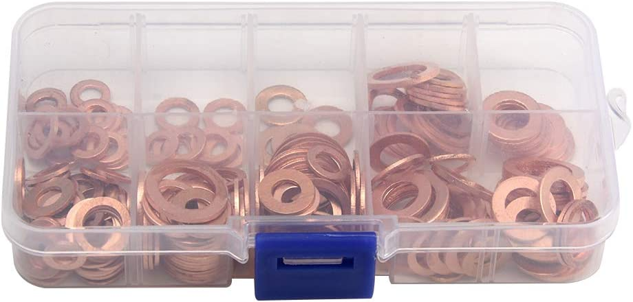 OERTUFU Copper Washers 200 Pcs Copper Washers with 9 Sizes Copper Flat Washer Plain Washers Flat Sealing Ring Kit