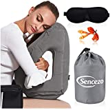 Inflatable Travel Pillow Sleep Aid – with Eye Mask, Earplugs, Carry Pouch - Airplane Pillow for Long-Haul Flights & Road Trips – Fast Inflate/Deflate, Compact, Fully Supportive Accessories