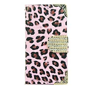 QHY Leopard Pattern PU Leather Case with Card Slot for iPhone 4/4S , Pink