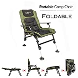 VINGLI 180° Adjustable Reclining Mesh Padded Back Professional Fishing Stool, Foldable Chair, Outdoor Camping/Picnic/Hiking/Beach Portable Chair, Support 350LBS, w/Steel Armrest, FREE Durable Bag