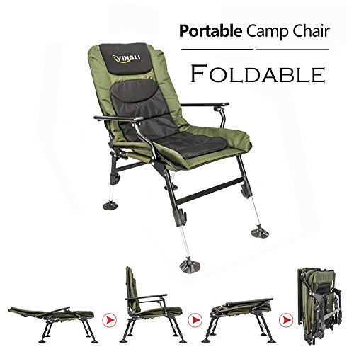 VINGLI 180° Adjustable Reclining Mesh Padded Back Professional Fishing Stool, Foldable Chair, Outdoor Camping/Picnic/Hiking/Beach Portable Chair, Support 350LBS, w/Steel Armrest, FREE Durable Bag by VINGLI