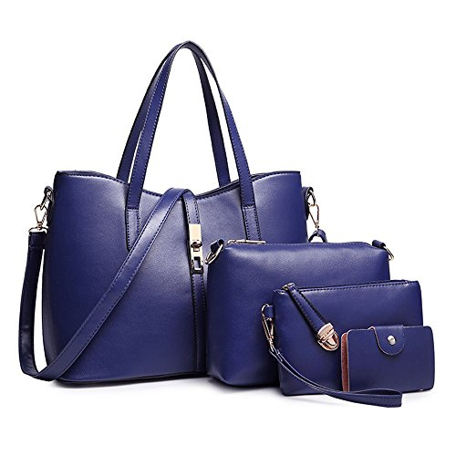 SIFINI Tote Blue Bag Card Handbag PU Fashion Women Set 4pcs Purse Brown Holder Leather Dark Bag Shoulder large 7xSq7wTr