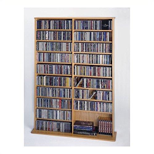 Leslie Dame CDV-1000 High Capacity Oak Veneer Multimedia Storage Rack, Oak