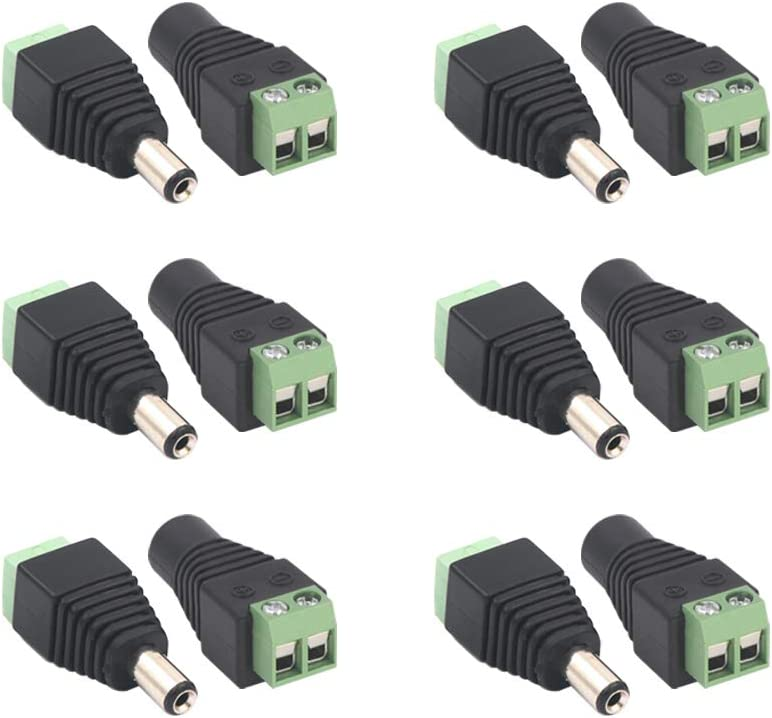 VCE 6pares 5.5mm x 2.1mm DC conector de alimentación macho y hembra 12V adaptadores enchufe para cámara CCTV DVR sistema de seguridad LED luz