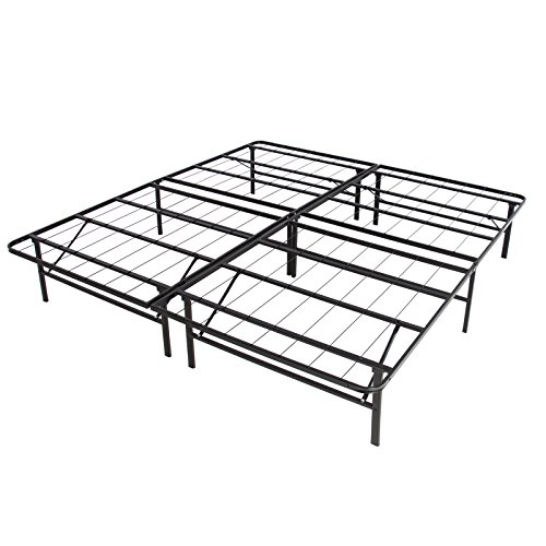 Platform Metal Bed Frame Foldable No Box Spring Needed Mattress Foundation Queen (Lady Bug Push Pins)