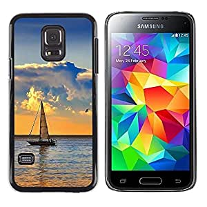Smartphone Rígido Protección única Imagen Carcasa Funda Tapa Skin Case Para Samsung Galaxy S5 Mini, SM-G800, NOT S5 REGULAR! Nature Sailboat Sea / STRONG