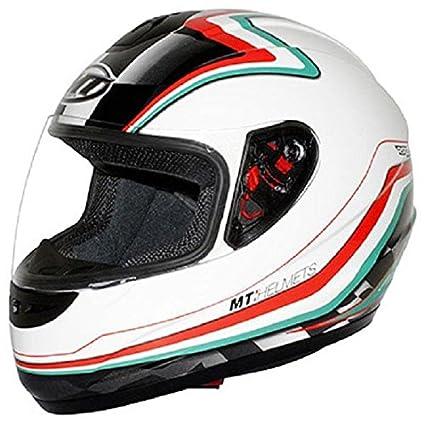 Casco moto integral MT THUNDER diseño de bandera de Italia, color blanco, rojo y