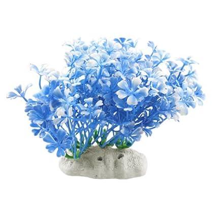Las plantas Jardin peces de acuario tanque de paisajismo emulational plástico, Azul