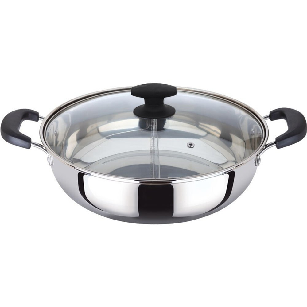 MyLifeUNIT Shabu Shabu Hot Pot, Dual Sided Yin Yang Hot Pot with Stainless Steel Divider, 12 Inch KT17CQ106