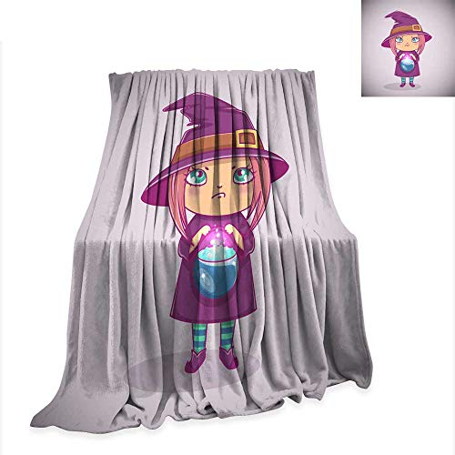 Warm Microfiber All Season Blanket for Bed or Couch Halloween Little Witch Girl Kid with Angry face in Halloween Costume with Cauldron Vector Illustration 50