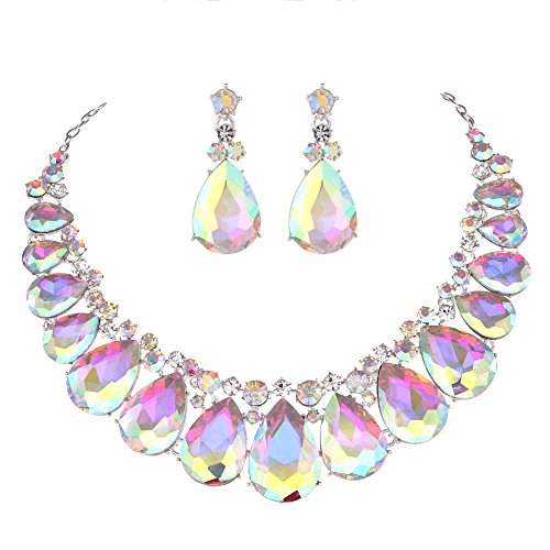 Youfir Water Drops Austria Crystal Necklace Earrings Set for Bridal Wedding Ceremony Events Dress(Crystal AB)