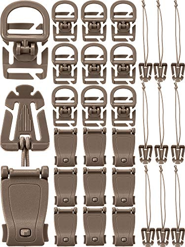 (30 Pieces Tactical Gear Clip Strap for Molle Backpack Webbing Attachments D Ring Hook Tactical Vest Belt (Style H))