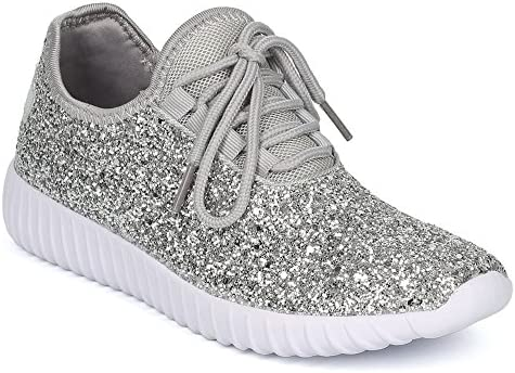 ShoBeautiful Women's Glitter Lace up Fashion Sneakers Casual Dressy Versatile Fashion Light Weight Sparkle Slip On Wedge Platform Sneaker