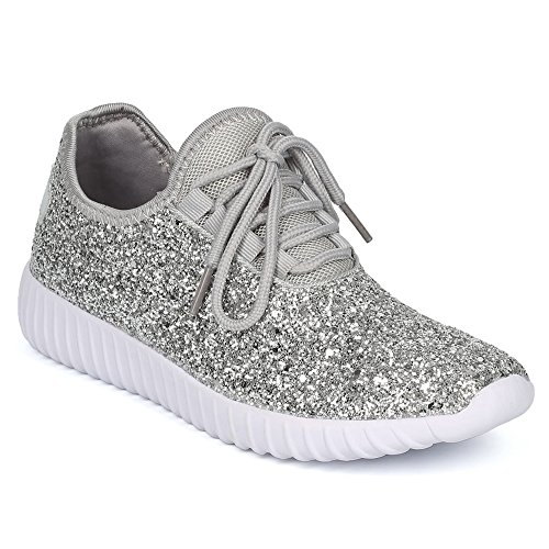 Womens Glitter Lace up Fashion Sneakers Casual Dressy Versatile Fashion Light Weight Sparkle Slip On Wedge Platform Sneaker