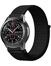 Comfort Canvas Woven Nylon Sport Watchwrist Band and for Samsung Galaxy Watch 46mm / Gear S3 Frontier / Huawei Watch GT2 / Magic Honor 2 / Fossil / 22mm Watches - Dark Black