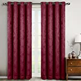 Bella Burgundy Grommet Blackout Weave Embossed Window Curtain Panels, Pair / Set of 2 Panels, 52x63 inches Each, by Royal Hotel
