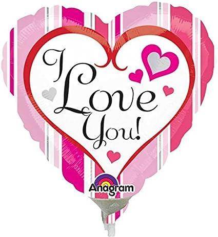 I Love you Pink Stripes Mini Foil Balloons on Sticks x 3