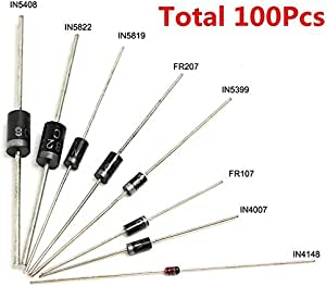 100pcs 8 Werte iode Bag Sortiment Kit 1N4007 1N4148 1N5408 FR107 für Arduino4H