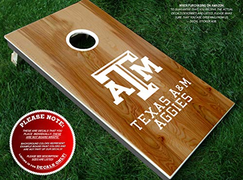 Aggies Cornhole Board Decals | HALF SET | Color Choice | Large Decals + Ring Sticker | DIY Cornhole Board Building & Decorating | Decal Sticker Hub