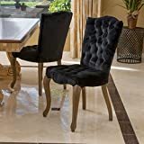 Great Deal Furniture (Set of 2) Fernand Velvet Black Dining Chair For Sale