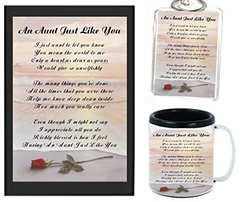 AN AUNT JUST LIKE YOU POEM | JUST IN TIME FOR CHRISTMAS GIFT | 11OZ BLACK | COFFEE CUP & PHOTO KEYCHAIN ARTWORK MUG BUNDLE